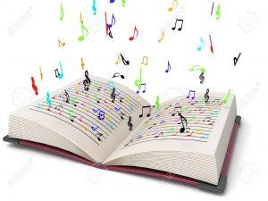 3844269-battant-en-trois-dimensions-des-notes-de-musique-dans-les-livres-Banque-d'images